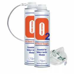2 X O2 10 Litre Oxygen Cans Inc 1 x Mask and Tubing
